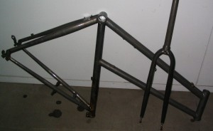 Bicycle frame and forks after chemical stripping